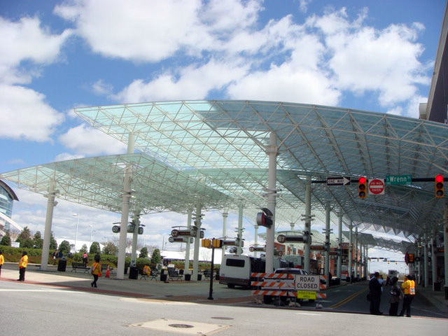"In 2005 a transit terminal was constructed in front of IFHC and has is the hub of a remarkably efficient and well-coordinated shuttle service. The structure is reminiscent of Buckminster Fuller's <a href=""http://www.moma.org/collection/browse_results.php?"