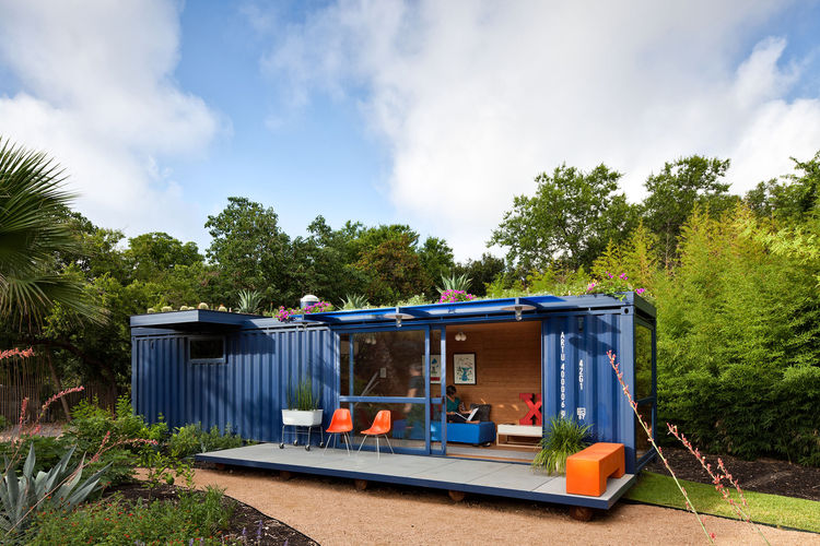 """In the beginning I really wanted the container to be off the grid but solar is still very expensive in San Antonio, especially for small spaces,"" says Hill. ""The green roof was an element that I had not thought of at the beginning, but as it turns out sa"