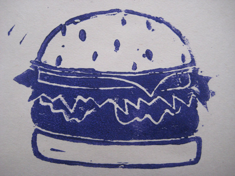 This big burger came very close to being be-Santa-hatted on these cards instead of the ice cream cone.