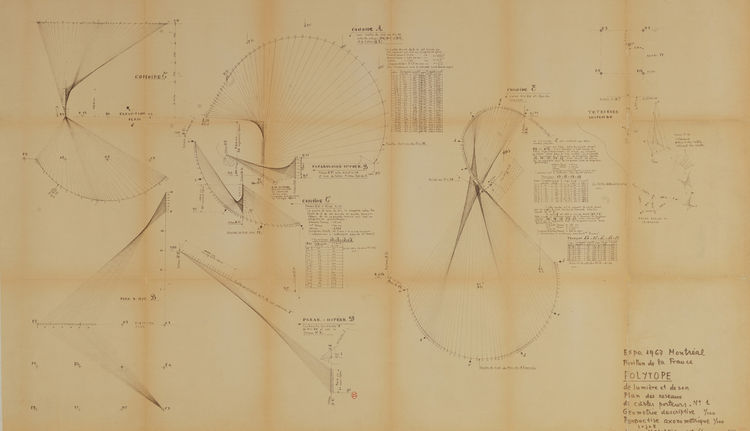 """This is a blueprint for the """"Polytope de Montreal (plans, elevations, axonometrics)"""" from 1966."""