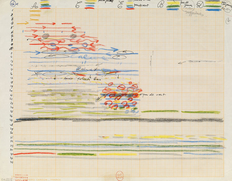 """This colored-pencil drawing is entitled """"Study for Polytope de Montreal (light score)"""" and is from around 1966."""