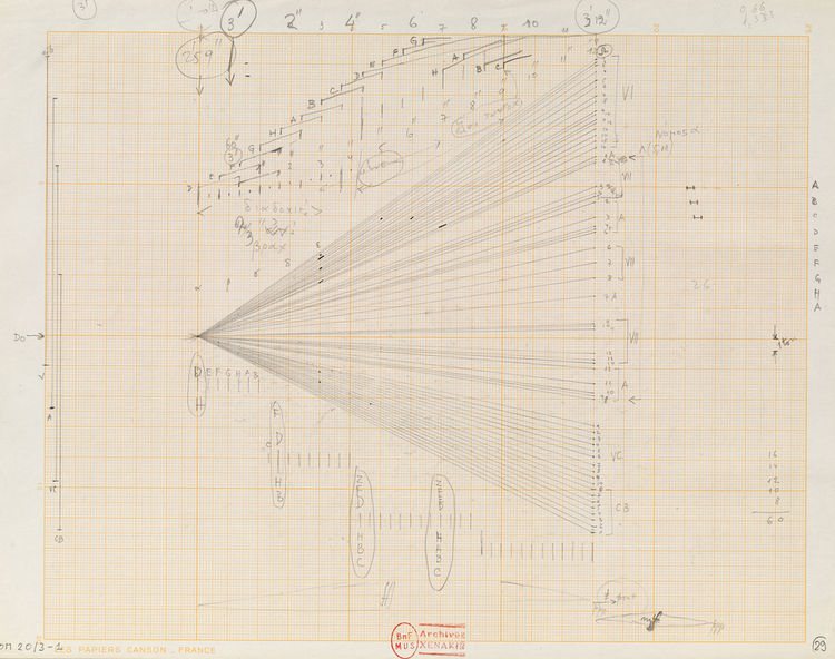 """""""Study for Terretektorh (glissandi)"""" is a wonderful example of how Xenakis's thinking about architectural form and musical notation were inextricably linked. This pencil drawing is from 1965-66 and is from the Iannis Xenakis Archives at the Bibliotheque n"""