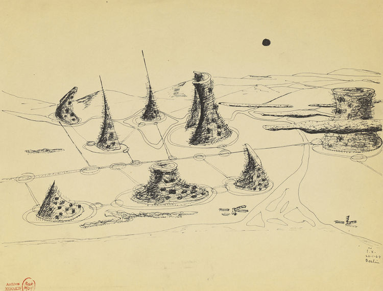 """This 1963 drawing, """"Cosmic City (aerial perspective)"""" illustrated Xenakis's essay on urbanism, The Cosmic City published in 1965 in Francois Choay's L'Urbanisme, Utopies et Realite."""