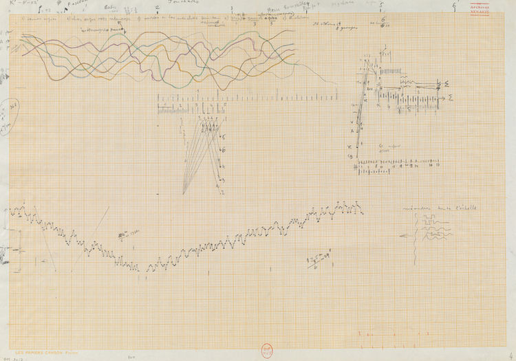 This drawing is a study for Xenakis's 1977 composition Jonchaies.