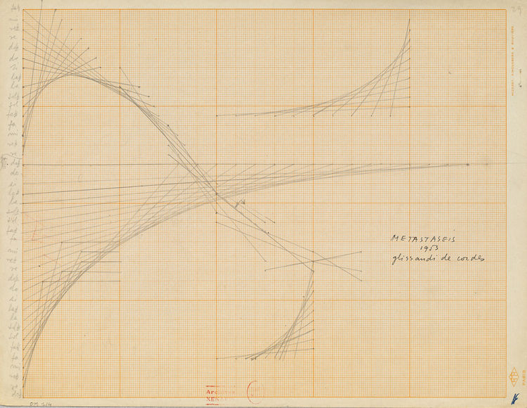 """Here is a more detailed view of the swooping arcs that inform his musical works in another """"Study for Metastaseis"""" from 1953."""