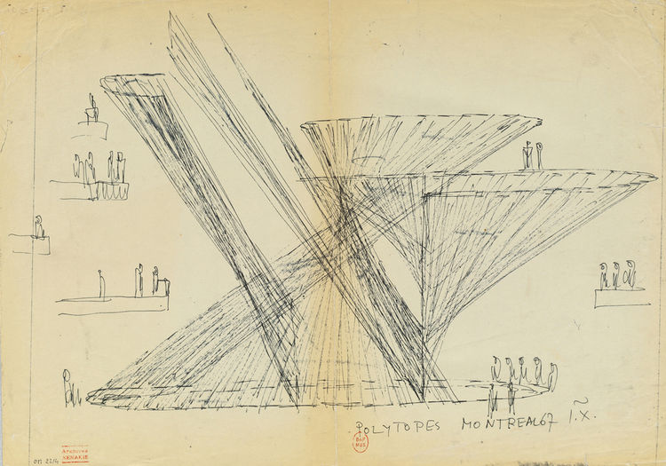 """This """"Study for Polytope de Montreal"""" from 1967 illustrates Xenakis's eye for a visual spectacle in full display."""