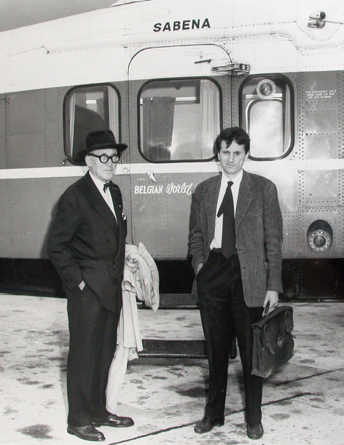 Here is Xenakis and Le Corbusier en route to the Philips Pavilion in Brussels in 1957. The Pavilion was perhaps Xenakis's most significant architectural work, but Le Corbusier took credit for it. Xenakis left his office soon after.