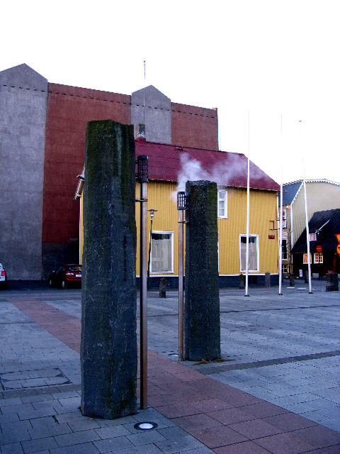 There are occasional reminders that the city runs on geothermic power, whether by whiffs of sulphur or sights like this. According to Wikipedia, 87% of buildings in Iceland use natural heating. In winter, Reykjavik's pavement is even de-iced geothermally.