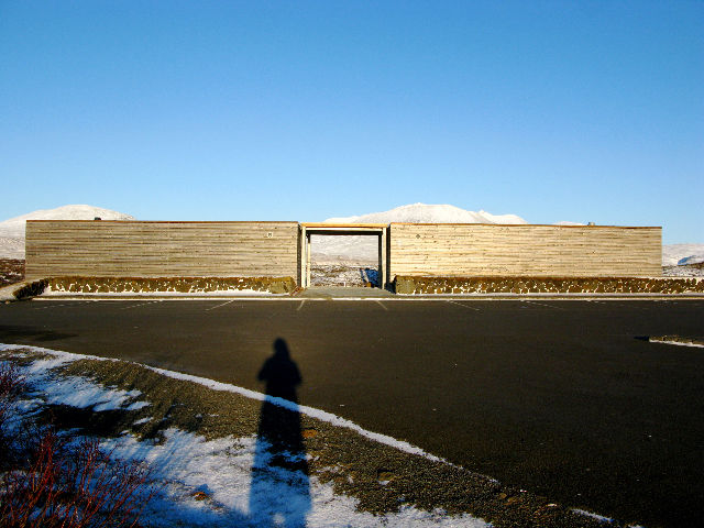 """We drove """"The Golden Circle,"""" a classic route through some of Iceland's greatest hits within striking distance of Reykjavik. While we expected to be overwhelmed by natural wonders, we didn't expect to be stunned by rest stops. This building is just bathro"""