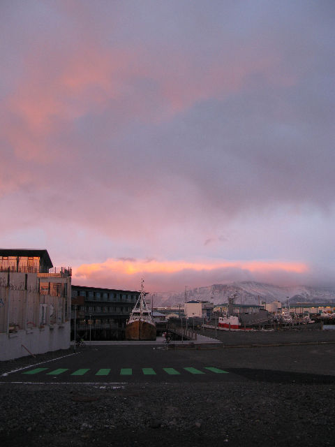 """After a dark day, this sunset over<a href=""""<a href=""""http://english.lhi.is/"""">Vikin</a>, themaritime museum built in a renovated fish factory, energized us."""