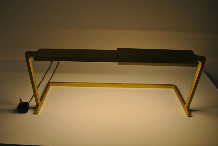 "Steve Oh's LED <a href=""http://osteveo.com/haven.html"">Haven</a> lamp comes in aluminum or brass (the latter shown here)."