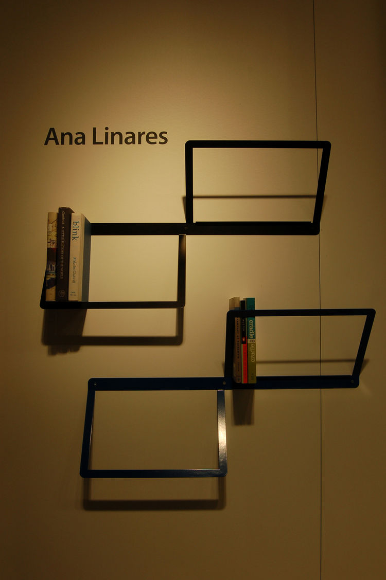 "Industrial designer <a href=""http://analinaresdesign.com"">Ana Linares</a> exhibited her powder-coated steel Duo bookshelf. It's available in black, silver or blue."