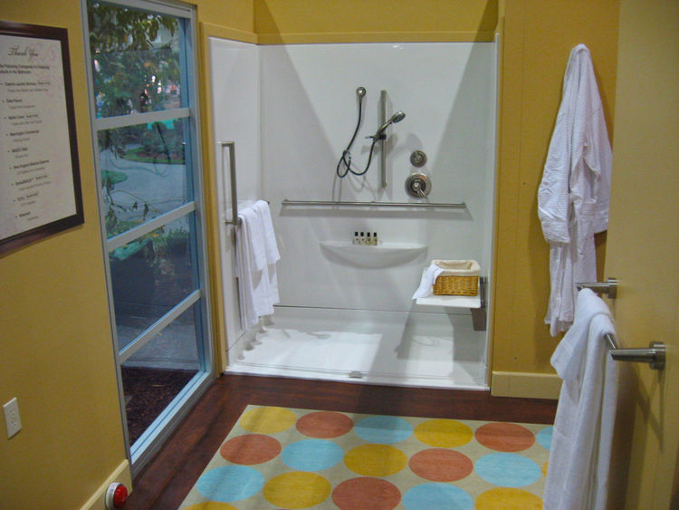 Mannington Commercial vinyl flooring combines safety with a fashion-forward palette for the bathroom, the hallway and other areas where water could pose a slipping hazard. Pairing such floors with a SorbaSHOCK foam-core underlayment adds protection agains