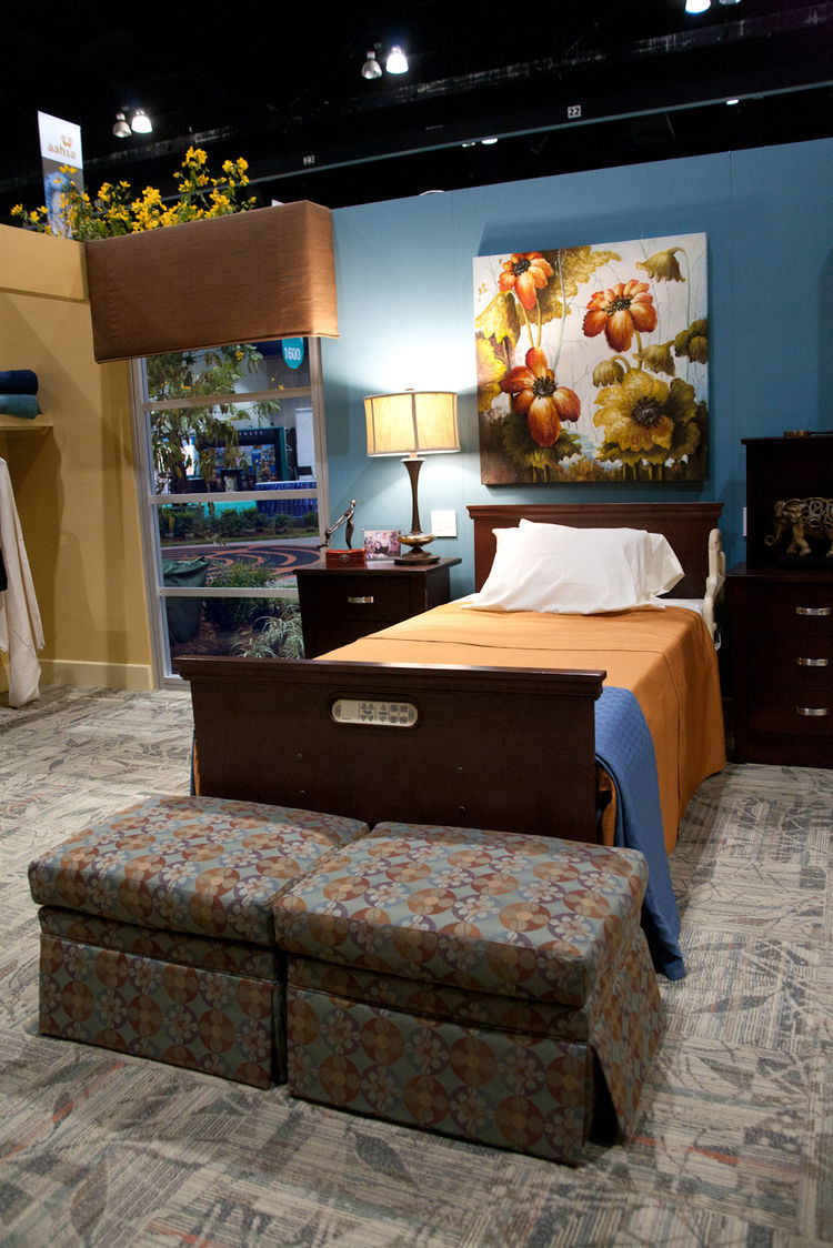 Furniture for seniors doesn't have to look like something out of a hospital ward. In addition to chairs upholstered in stylish fabrics that resist staining and fading, Joerns Healthcare's fully adjustable bed comes with handsome wood veneer trim to blend
