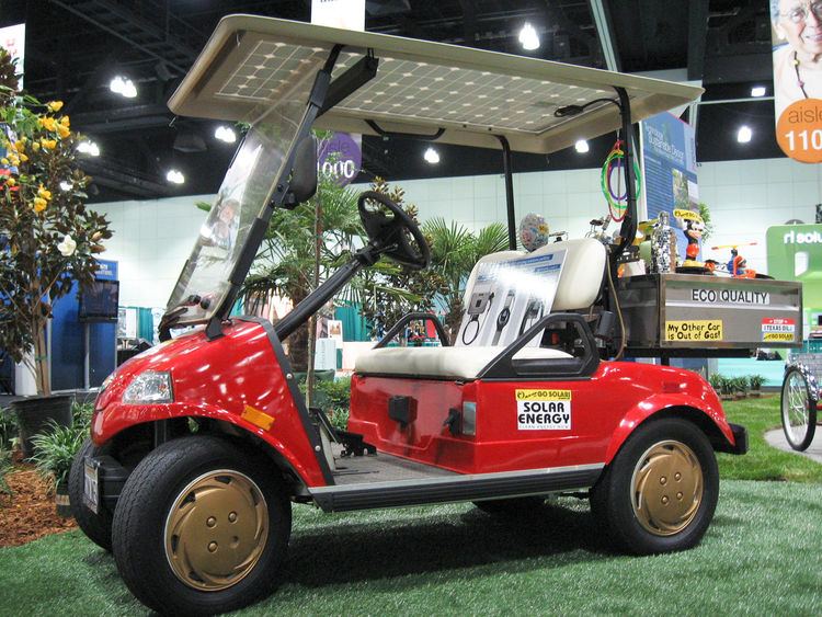 Eco-conscious transportation alternatives for seniors include a golf cart retrofitted with a canopy of solar panels by Solar Brad, a San Francisco Bay-area folk artist and solar advocate, and an Izip Tricruiser electric tricycle with a grocery basket from