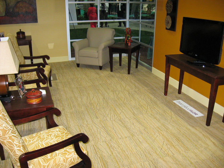 Carpet tiles by InterfaceFLOR, the commercial counterpart to FLOR, offer floor coverings that are easy to install, clean and change. Made of recycled materials, the solution-dyed, fade-resistant nylon tiles are low-pile to reduce the risk of tripping. The