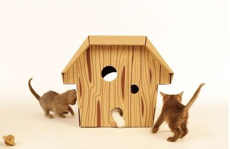 "A playful house for cats, crafted out of cardboard by <a href=""http://www.loyalluxe.com/"">Loyal Luxe</a> exhibited at this year's show."