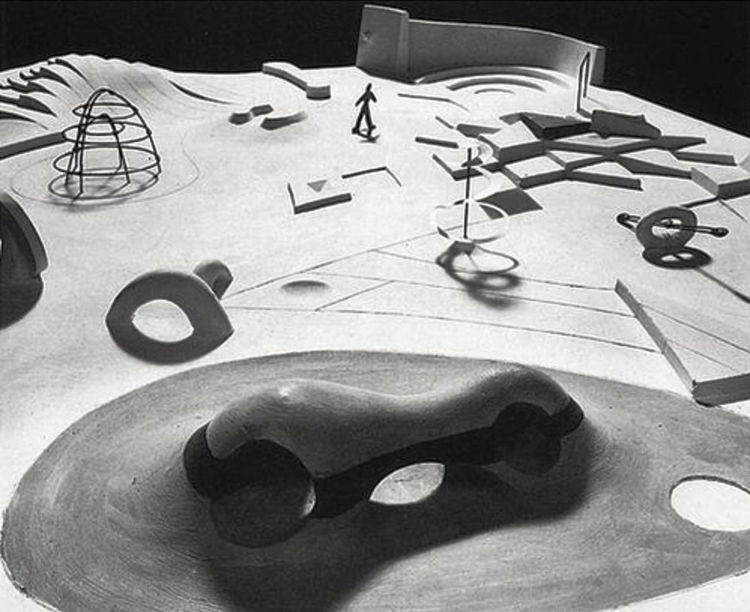 One of the fascinations of mid-century playgrounds is that so many eminent sculptors, artists, architects, and designers involved themselves in play. Foremost among them was Isamu Noguchi, whose 1952 design for a United Nations Playground in New York pinc