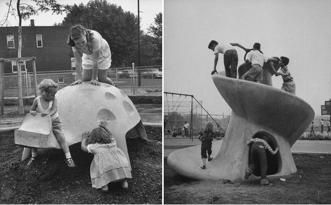 "The toy company <a href=""http://www.brooklynmuseum.org/opencollection/artists/15758/Creative_Playthings_Inc."">Creative Playthings, Inc.</a> brought Möller-Nielsen's work to the United States and included more concrete structures, like these 1954 installat"