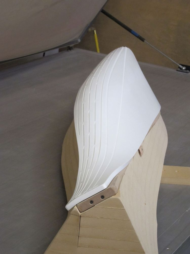 Sitting atop the vacuum press table, here's a Corian piece mounted to a piece of MDF.
