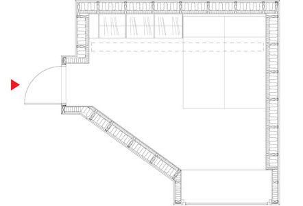 The floor plan of the guesthouse.