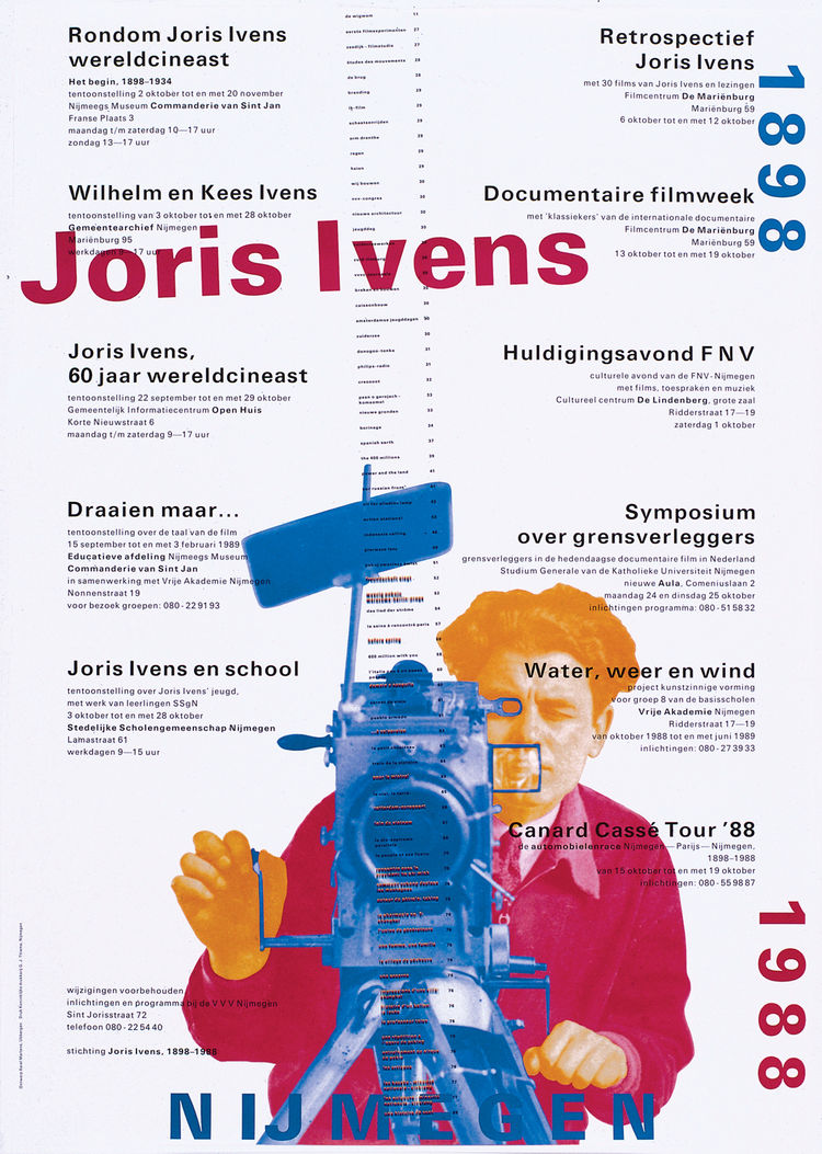 A poster for a film series celebrating Dutch documentary filmmaker Joris Ivens.
