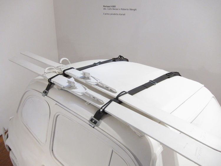 1950's K 101 Ski Rack by Carlo Barassi and Roberto Menghi, a rubberized set of straps that easily clipped onto a car roof (as opposed to the bulky and unwieldy roof racks then on the market), was the first Kartell product. It proved to be a great success.