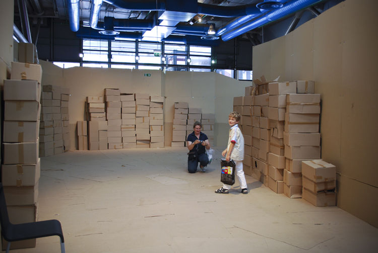 """According to Kawamata, speaking about a previous project at Le Marechalerie in Versailles: """"The workshops are decided quickly. There were pallets, pallets, and more pallets. If I want to do something, I want to do it <i>out</i>of the structure, like as i"""