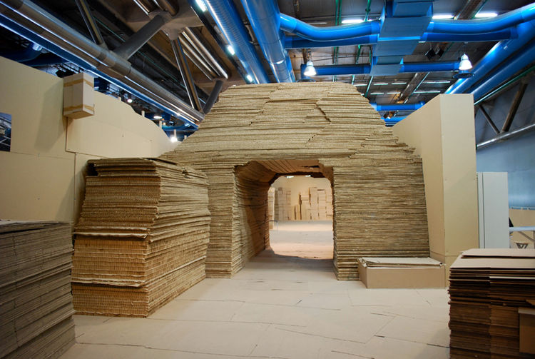 An all-corrugated-cardboard space comprises the Children's Gallery (Galerie des Enfants). With cardboard mountains and walls and spongey-feeling walkways, the space offers visitors a new frame of reference to the most plebian of materials.