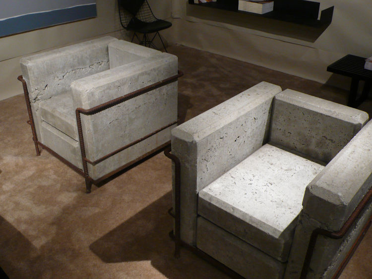 "Referred to as a punk appropriation of Le Corbusier's iconic LC-2 chair, Stefan Zwicky's Grand Comfort Sans Comfort chair was made in 1980 from strictly conceptually pleasing concrete and rebar. From <A HREF=""http://lamodern.wordpress.com/"">Los Angeles Mo"