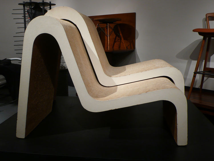 "Frank Gehry prototype Masonite-and-cardboard Easy Edges chairs, 1968–69. ""These were so celebrated, so quickly, Gehry was afraid he would be pigeonholed as a furniture designer rather than an architect,"" says Sam Kaufman. ""He deliberately stopped making t"