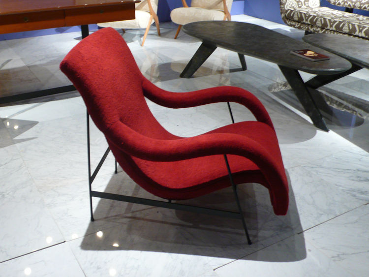 "The circa 1950 Arianna chair, by Italian designer Gigi Radice for Renzo Minotti, of bent plywood over steel and covered in a Turkish terry chenille intended to closely resemble the original fabric. From <A HREF=""http://www.downtown20.net/"">Downtown</A>."