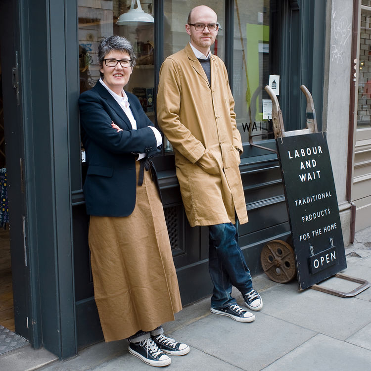 """Rachel Wythe-Moran and Simon Watkins filed papers to launch Labour and Wait in 2000 and were selling goods the next year. The store name is derived from a poem by Longfellow. """"We liked the idea of two words; it sounds like two people's names,"""" Watkins say"""