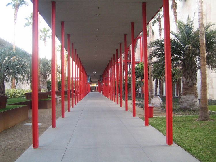 The Resnick is on the left of this corridor and the Broad on the right. It felt like a forest of red steel.