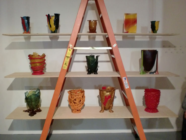 A ladder and delicately balanced ply became the setting for an array of Pesce's vase designs, mostly from the 1990s.
