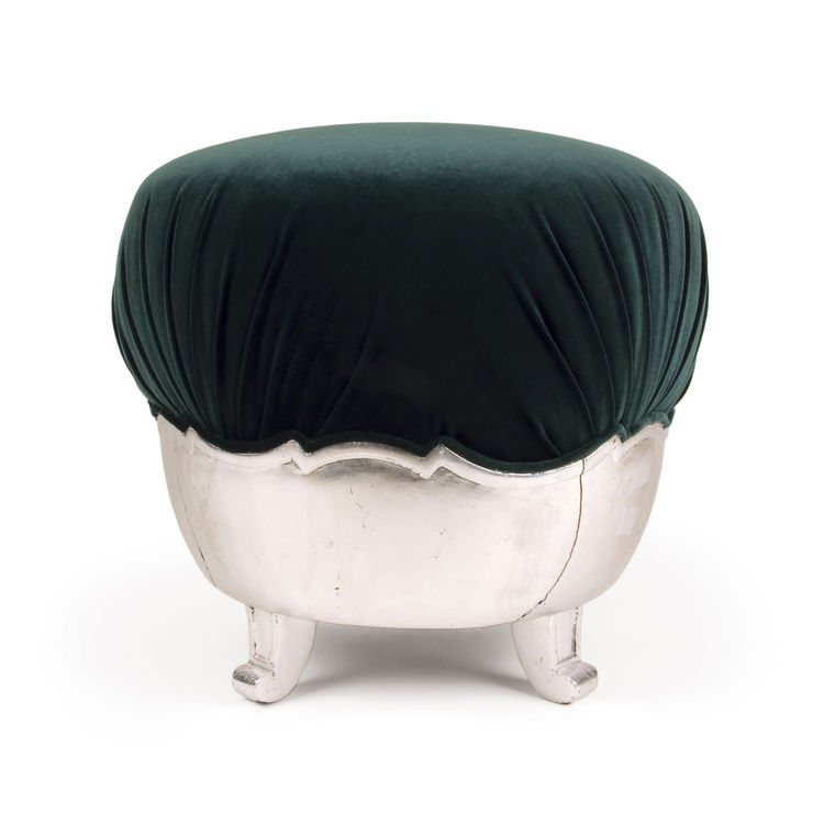 "A circa 1920s neo-Baroque (or ""Kozma-Baroque,"" says Hoffman) stool, in silver-leaf over wood with new green velvet. 18 in. x 19 in. Photo courtesy <a href=""http://www.szalonantiques.com/"">Szalon</a>."