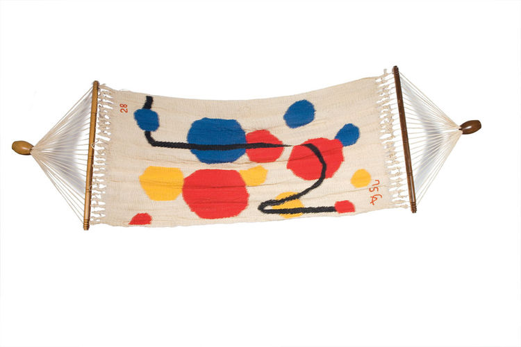This signed and dated hammock is vintage Alexander Calder—with his signature bright, primary colors infused into the handwoven piece. Calder became obsessed with Central and South American weaving techniques in the 1970s after Nicaraguan art collector Kit