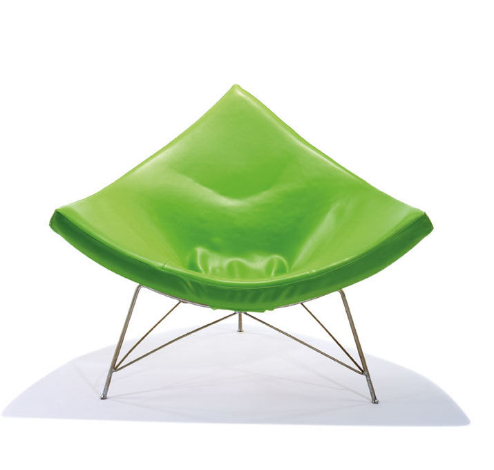 "The coconut chair in green vinyl, designed by George Nelson for Herman Miller in 1955. Nelson, who would design his famous Marshmallow sofa the following year, once remarked of Miller: ""He is not playing follow-the leader."" Estimate: $3,000–$4,000. Photo"