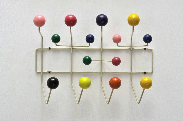 """Charles and Ray Eames designed the Hang-It-All in 1953; this one, made by Tigrett Enterprises, was a gift from Ray Eames to Elaine K. Sewell Jones and comes from the Joneses' collection. """"Elaine is known as one of the most gifted and creative thinkers in"""