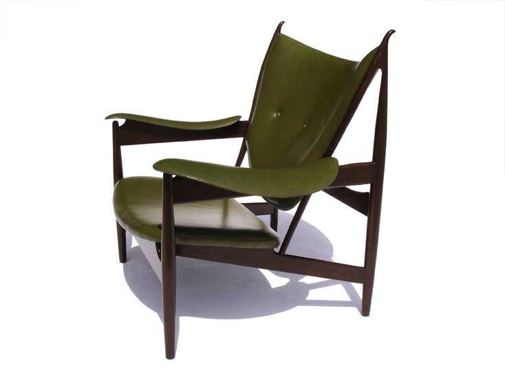 One of a pair of devilish Chieftain chairs by Finn Juhl, apparently named after King Frederik IX sat in the display model at the 1949 Cabinetmaker's Guild in Copenhagen. Designed that year and produced after 1955, the chairs, among Juhl's best-known desig