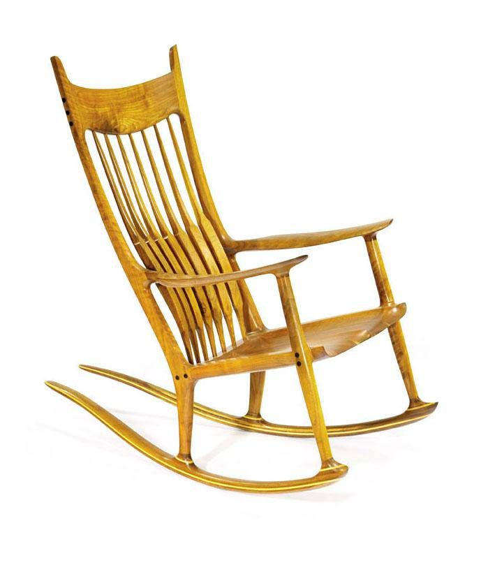 """The self-taught king of studio craft furniture, Sam Maloof made this version of his well-known rocking chair between 1986 and 1989. In a 1985 interview Maloof said, """"I want my furniture to be touched, to be sat upon, to be eaten upon, whatever."""" The chair"""