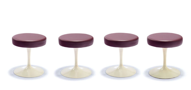 "The Eero Saarinen Tulip table is among the most ubiquitous mid-century modern pieces, but the stools, designed in 1957 with an aluminum base, are not quite as often encountered. Turned off by what he called the ""ugly, confusing, unrestful world resulting"