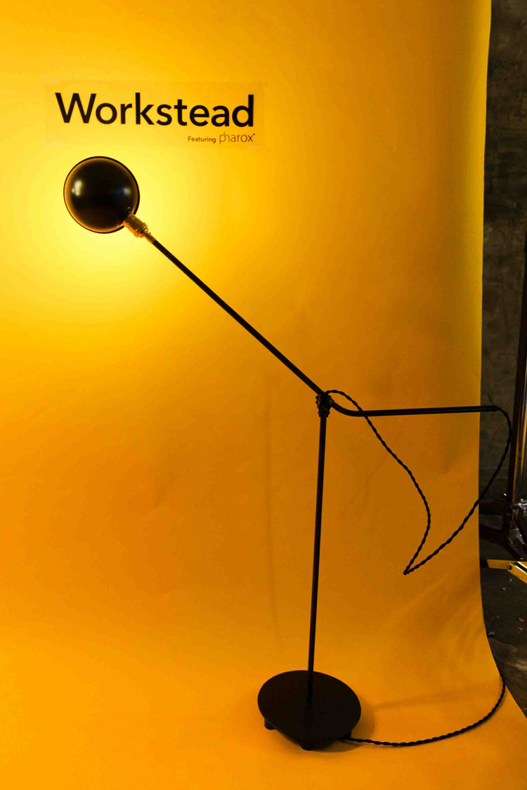 The Brooklyn-based design duo Stefanie Brechbuehler and Robert Andrew Highsmith utilized a re-purposed O.C. White industrial joint and brass socket to create this unique floor lamp. The arm can be articulated in multiple axes; the joint allows for 360 deg