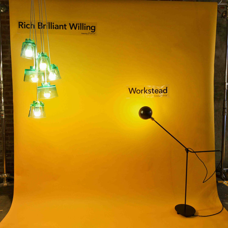 Rich Brilliant Willing and Workstead both displayed unique works utilizing the Pharox 400xl bulbs. LEDs are often thought of as tinted and harsh, but the combination of the Bright Side Lights and the Workstead floor lamp with the Pharox dimmable bulbs sho