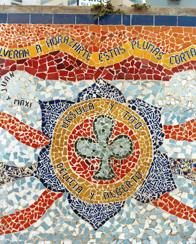Here are details from the colorful, elaborate mosaics at Parque del Amor.