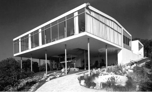 """The Glass House, shortly after it was built in 1951 as the home of Bo Bardi and her husband, Pietro Maria Bardi. """"The Glass House has to be ranked as a major theme of modern architecture,"""" wrote Gio Ponti of the building in 1953. Image courtesy Acervo Ins"""
