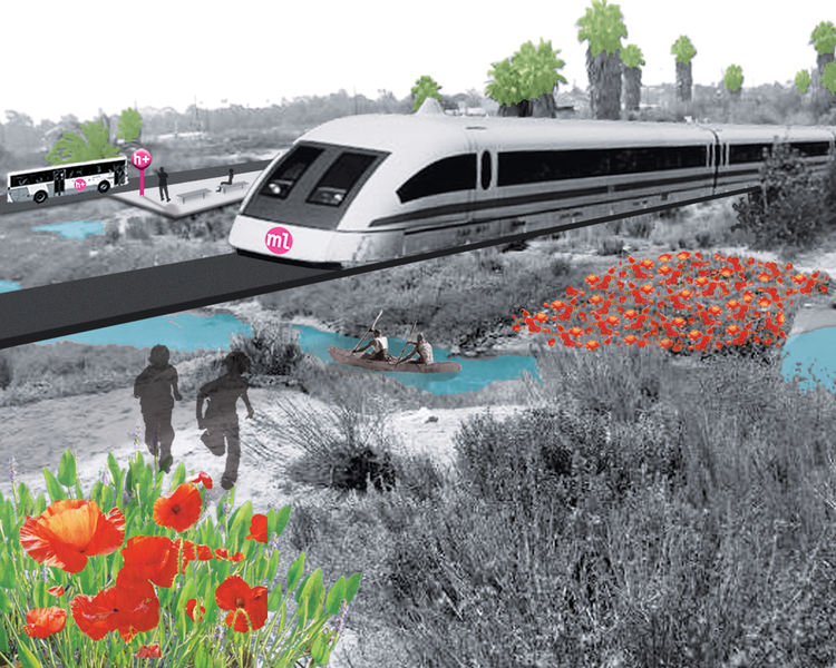 The plan features a wastewater-treating, energy-producing transportation loop, places a magnetic levitation railway within the freeway right of way.