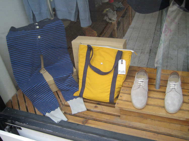 I had a quick morning jaunt around the East End before I headed back to the States. This is the Folk shop just off Brick Lane. Nice bag and shoes for sure. Creative Director Kyle Blue and I are both big Folk fans.
