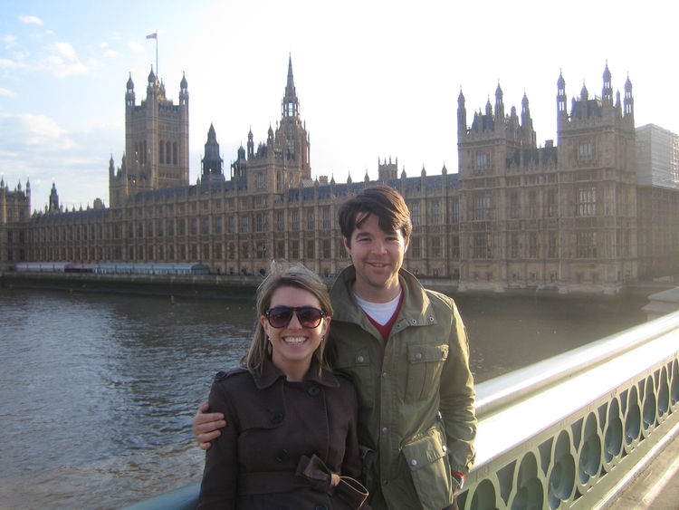 Another from Westminster Bridge, this time with Westminster Palace behind me and my pal in tow.