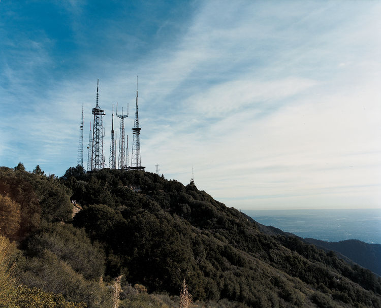 These cell phone masts atop Mt. Wilson, northeast of Pasadena, are the region's major relay point for police, fire, and civilian communications.